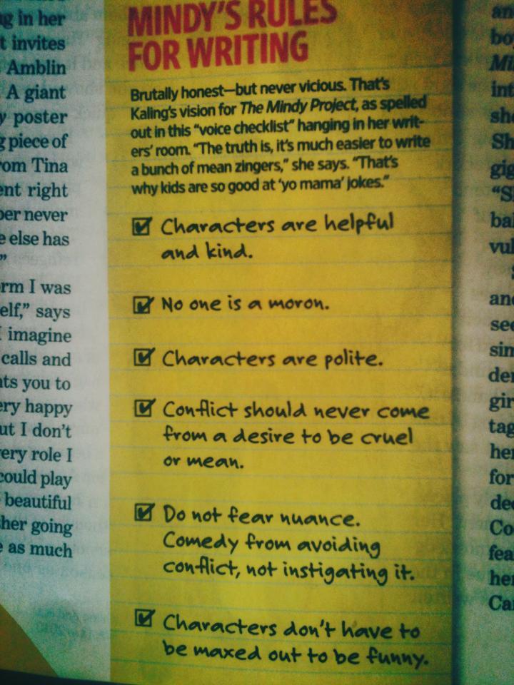 Mindy Kaling's Writing Advice
